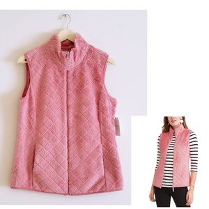 Quilted Design Plush Pink Vest by Time and Tru